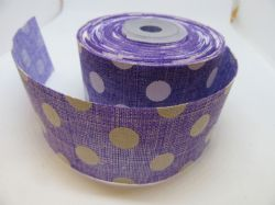 2 metres or Full Roll 25mm 38mm Lilac Purple Vintage Hessian Large Polka Dot Ribbon 25 38 mm